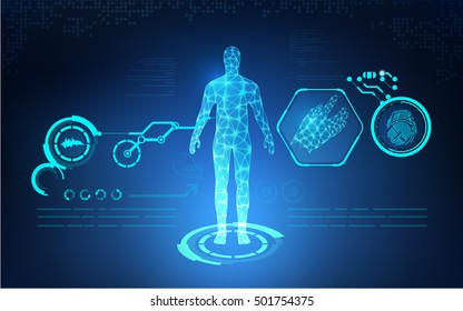 abstract technology health care with digital interface of fingerprint; concept of biometric or human analysis