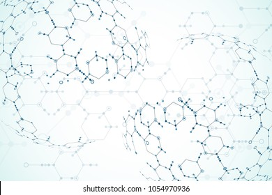 Abstract  technology hexagonal background. Connection structure. Science style.Vector
