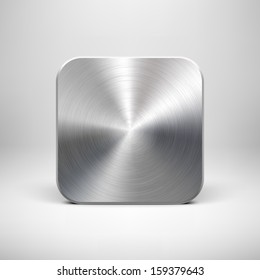 Abstract technology icon (button) template with metal texture (stainless steel, chrome, silver), realistic shadow and light background for user interfaces (UI), applications (apps) and presentations.