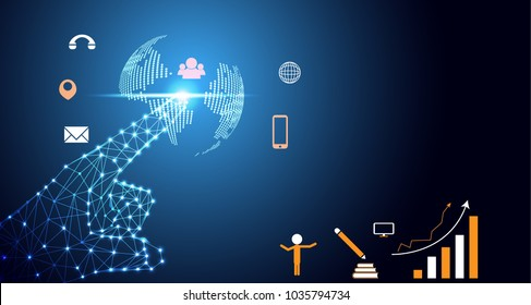 abstract technology infographic background concept hand digital link world map dot, business icon flat world, message and phone, graph line about growth of business