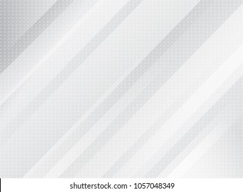 Abstract technology light grey color and striped rectangle oblique overlay white gradients on dots pattern background. Vector illustration