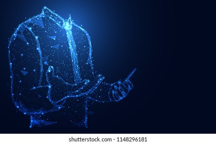 Abstract technology line triangle and points businessman low poly hold the phone in hand polygonal future modern wireframe on hi tech future blue background. for template, web design or presentation.