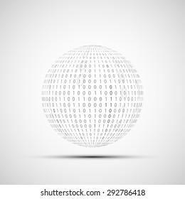 Abstract Technology logo. Ball of binary code. Stock Vector.