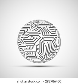 Abstract Technology logo. Ball from the circuit. Stock Vector.