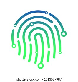 Abstract technology logo, design concept, emblem, icon, flat logotype element for template. IT company sign vector illustration. Finger print in hi-tech style. Security concept. Computer science