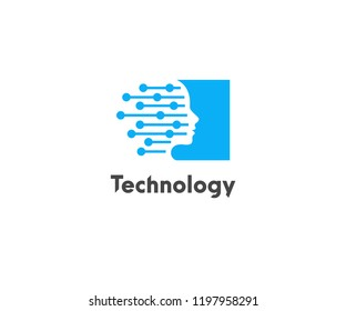Abstract Technology Logo, Modern, Minimalist, Futuristic Vector Logo Template with Fresh Blue Color