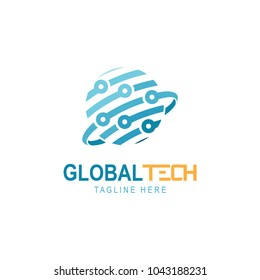 Abstract technology logo template, globe, sphere vector icon