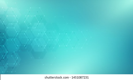 Abstract technology or medical background with hexagon pattern. Shape of hexagonal grid. Concepts and ideas for healthcare technology, innovation medicine, health, science. Vector illustration