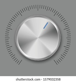Abstract Technology Music Button, Volume Knob with Metal Texture or Hi-tech Level Controller, Range Scale and Setting Buttons for Internet Sites. Realistic Template Isolated on White