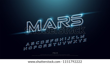 Abstract technology neon font and alphabet. techno effect logo designs. Typography digital space concept. vector illustration