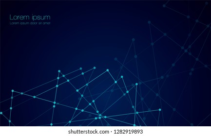 Abstract technology Network nodes with polygonal shapes on dark blue Vector background. Connection science and futuristic technology, digital structure, connected points, web.