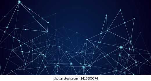Abstract technology Network nodes with polygonal shapes on dark blue Vector background. Connection science and futuristic technology, digital structure, connected points, web. - Vector