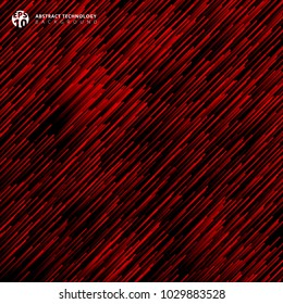 Abstract technology red light lazer lines diagonally pattern on dark background. Vector graphic illustration