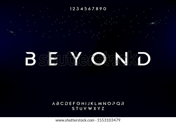 Abstract technology science alphabet font. digital space typography vector illustration design