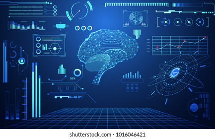 abstract technology science concept Brain data health digital : hud interface elements of medicine analysis Doctor,medical,physician and percent vitality innovation on hi tech future design background