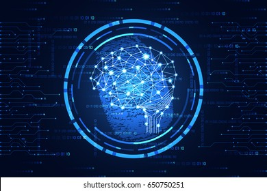 abstract technology science concept cyber security brain digital link and fingerprint on hi tech blue binary background