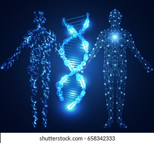 abstract technology science concept human digital link and DNA on hi tech background