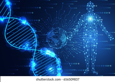 abstract technology science concept modern world blue light and DNA human digital on hi tech binary background