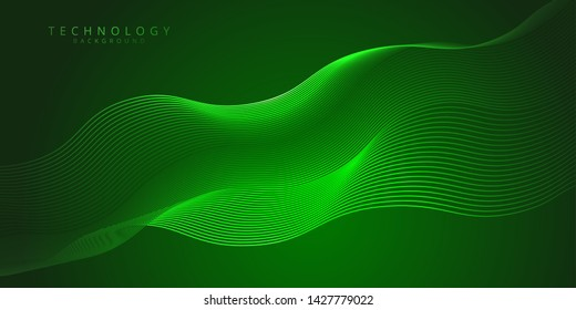 Abstract technology and science green neon visualization. Blockchain and cryptocurrency. Digital wallpaper. Business concept. Big data and artificial intelligence. Rendering computer virtual reality