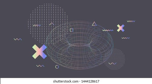 Abstract technology sci-fi vector background. Holographic wireframe of torus on grey backdrop. Cyberpunk/ vaporwave style illustration with glitch art elements.