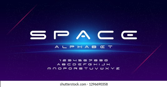 Abstract technology space font and alphabet. techno effect fonts designs. Typography digital sci-fi concept. vector illustration