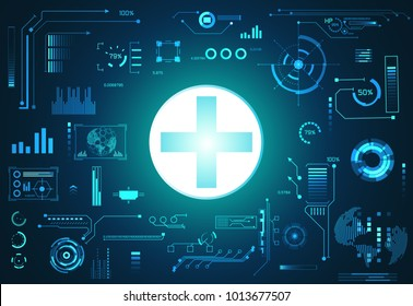 abstract technology ui futuristic concept health hud interface hologram elements of digital data chart, communication, and circle percent vitality innovation on hi tech future design background
