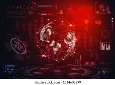 abstract technology ui futuristic concept world digital hud interface hologram elements of digital data chart, communication, circle percent vitality innovation on hi tech future design background
