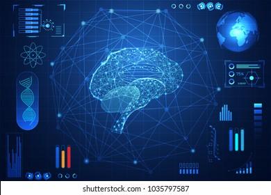 abstract technology ui futuristic concept hud interface hologram elements of digital data chart, communication, computing,brain digital health care ; health future design on hi tech background.