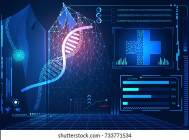 abstract technology ui futuristic concept hud interface hologram elements of digital data chart, communication, computing, DNA, Doctor and medical innovation on hi tech future design background