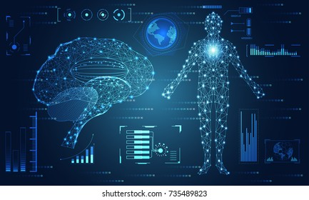 abstract technology ui futuristic concept brain and human body hud interface hologram elements of digital data chart, communication, computing and health innovation on hi tech future design background