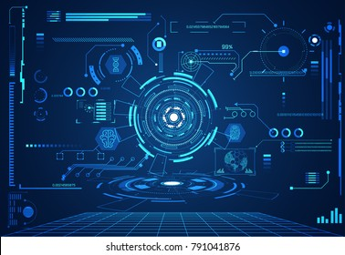 abstract technology ui futuristic concept hud health interface hologram elements of digital data chart,communication, Brain,DNA,circle percent vitality innovation on hi tech future design background