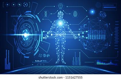 abstract technology ui futuristic human medical hud interface hologram elements of digital data chart, DNA,Fingerprint,Brain computing circle vitality innovation on hi tech future design background