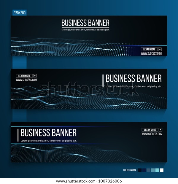 Abstract Technology Web Banner Background 3d Stock Vector (Royalty