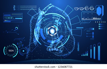 abstract technology world digital link network connection, business man link ui futuristic concept hud interface hologram elements of digital innovation on hi tech future design background