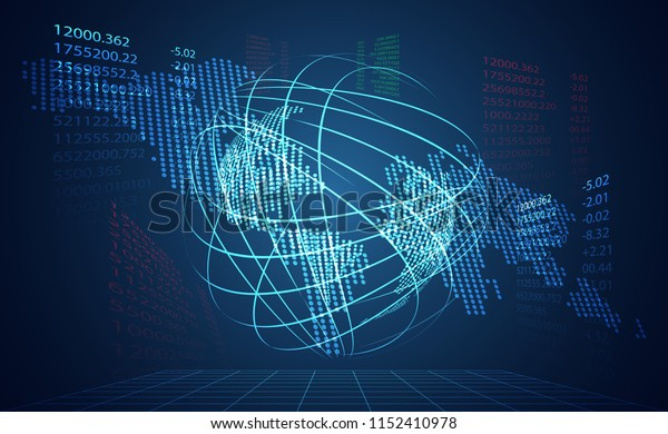 abstract technology world digital link network connection and map dot link ui futuristic concept hologram digital innovation on hi tech future design background