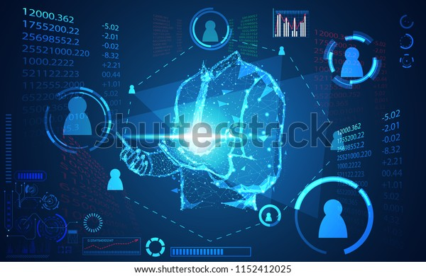 abstract technology world digital link network connection, business man link ui futuristic concept hud interface hologram elements of digital innovation on hi tech future design background