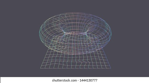 Abstract technologyvector background, conceptual image of Artificial Intelligence. Holographic wireframe of torus on grey backdrop. Cyberpunk/ vaporwave style illustration with glitch art elements.