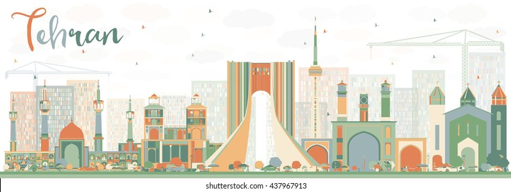 Abstract Tehran Skyline with Color Landmarks. Vector Illustration. Business Travel and Tourism Concept with Historic Buildings. Image for Presentation Banner Placard and Web Site.