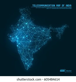 Abstract Telecommunication Network Map - India