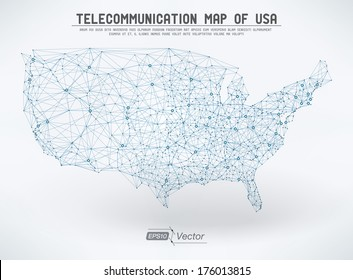 Abstract telecommunication USA map Detailed EPS10 vector design - organized layers
