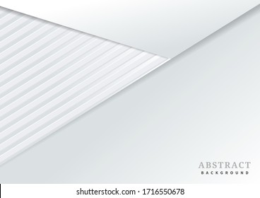 Abstract template 3d background with white paper layers. Vector illustration