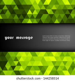 Abstract template background with green  triangle shapes