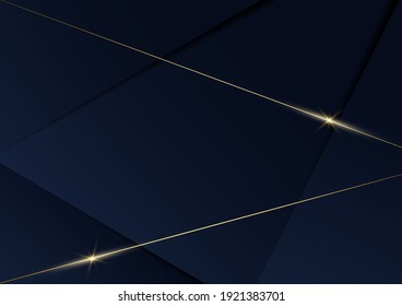 Abstract template blue geometric diagonal background with golden line. Luxury style. Vector illustration