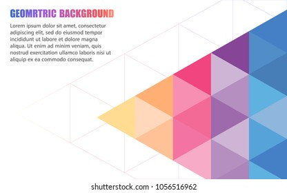 Abstract template design with geometric triangular background. Colorfull.