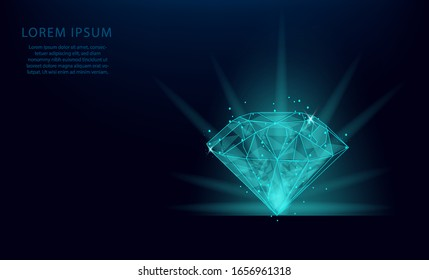 Abstract template of a diamond in the form of a starry sky or space, consisting of point. Low polygon diamond wireframe mesh on blue background. Vector business wireframe concept.