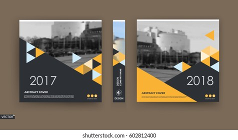 Abstract template. Fancy a4 brochure cover design. Info banner frame. Title sheet model set. Modern vector front page art. Urban city street texture. Patch triangles mosaic icon. Ad flyer text font
