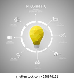 Abstract template, Light bulb low poly style with flat icons set