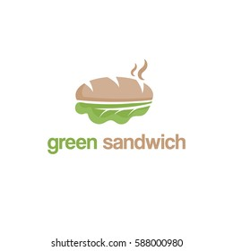 Abstract template logo design with green sandwich. Vector illustration
