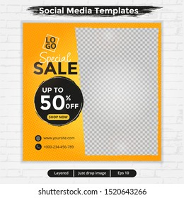 Abstract template post for social media, template for fashion sale ads, special sale, file with layered and eps 10