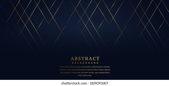 Abstract template stripe lines gold color on dark blue background. Luxury style. Luxury style. You can use for ad, poster, template, business presentation. Vector illustration